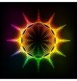 Abstract rainbow neon spirals cosmic sun vector image vector image