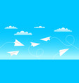 aircrafts fly between clouds and light in sky vector image