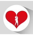 Athlete silhouette heart beat stretching