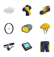 Bicycle bike sport icons set cartoon style vector image vector image