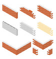 brick walls of the house with cement mortar set vector image vector image