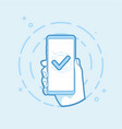 checkmark on smartphone screen vector image vector image