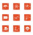 coaching icons set grunge style vector image