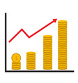 coin stack money graph up flat icon on white vector image vector image