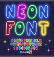 colored neon letters numbers font alphabet vector image