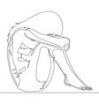 continuous line drawing sad teenager girl lonely vector image