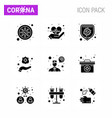 coronavirus 9 solid glyph black icon set on the vector image vector image