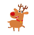 cute cartoon reindeer with red nose surprised vector image