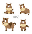 cute horse in different poses in cartoon style vector image vector image