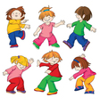 Dancing children all details of the image are exec vector | Price: 1 Credit (USD $1)