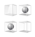 Four transparent gray glass cubes eps10 vector image