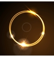 Glow orange neon ring shiny template design vector image vector image
