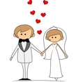 Groom and bride with flying hearts vector image vector image
