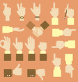 Hand flat design set with okay gesture vector image vector image