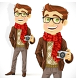 Hipster guy wearing a scarf and with a camera vector image vector image