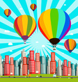 Hot Air Balloons Flat Design with Abstract C vector image vector image