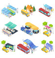 isometric 3d set city public transport vector image