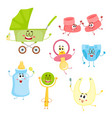 kid items baby care supply characters with human vector image vector image