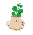 little stem cutting in a cute ceramic pot cartoon vector image