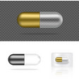 mock up realistic transparent pill medicine gold a vector image vector image
