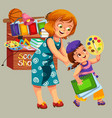 mother and daughter making purchases vector image