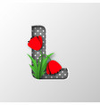 paper cut letter l with poppy flowers vector image vector image