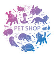 pet shop silhouette in circle template vector image vector image