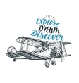 Retro biplane Airplane sketch Travel vector image vector image
