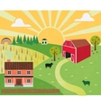 Rural landscape with farm and hills vector image
