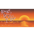 Sakura Branch at Sunset vector image vector image
