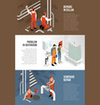 sanitary technician banners collection vector image vector image