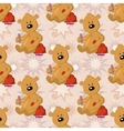 Seamless pattern teddy bear with Christmas bag vector image vector image