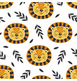 seamless pattern with baface lion vector image vector image
