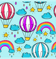 seamless pattern with balloon stars rainbow vector image vector image