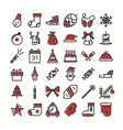 set christmas icons color style vector image vector image