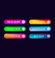 set modern abstract web buttons vector image