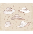 Set of five summer hats vector image