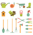 set of various gardening items and garden vector image vector image