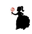 silhouette girl hold sweet candy vector image vector image