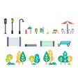 street furniture and trees set vector image vector image