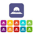 sun and mountain icons set vector image