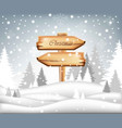 winter card with christmas wood sign snowy vector image vector image