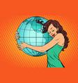 woman hugging earth mainland america vector image