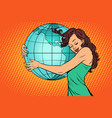 woman hugging the earth mainland america vector image