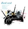 Travel Malaysia design in grunge style vector image