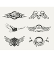 Set of motorcycle emblems badges labels and vector image