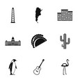 argentina travel icons set simple style vector image vector image