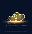 beautiful sparkle two hearts valentines day vector image