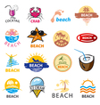 biggest collection logos beach palm trees sea vector image
