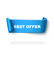 Blue curved paper ribbon banner with rolls